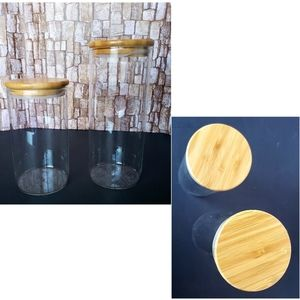 HOME  2 pcs. Glass Canister Set
